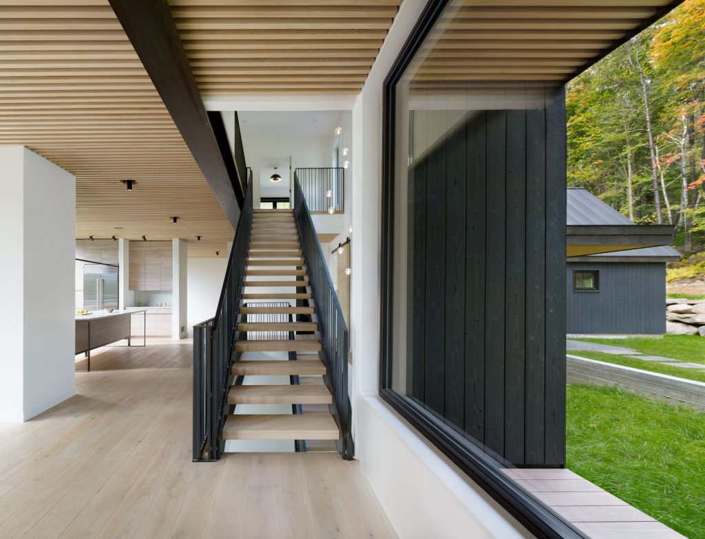 staircase design idea wood and steel