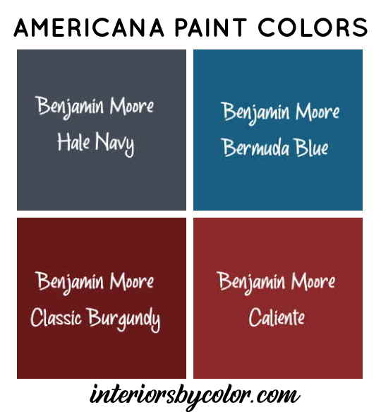 Americana paint color scheme benjamin moore paints hale navy bermuda burgundy caliente