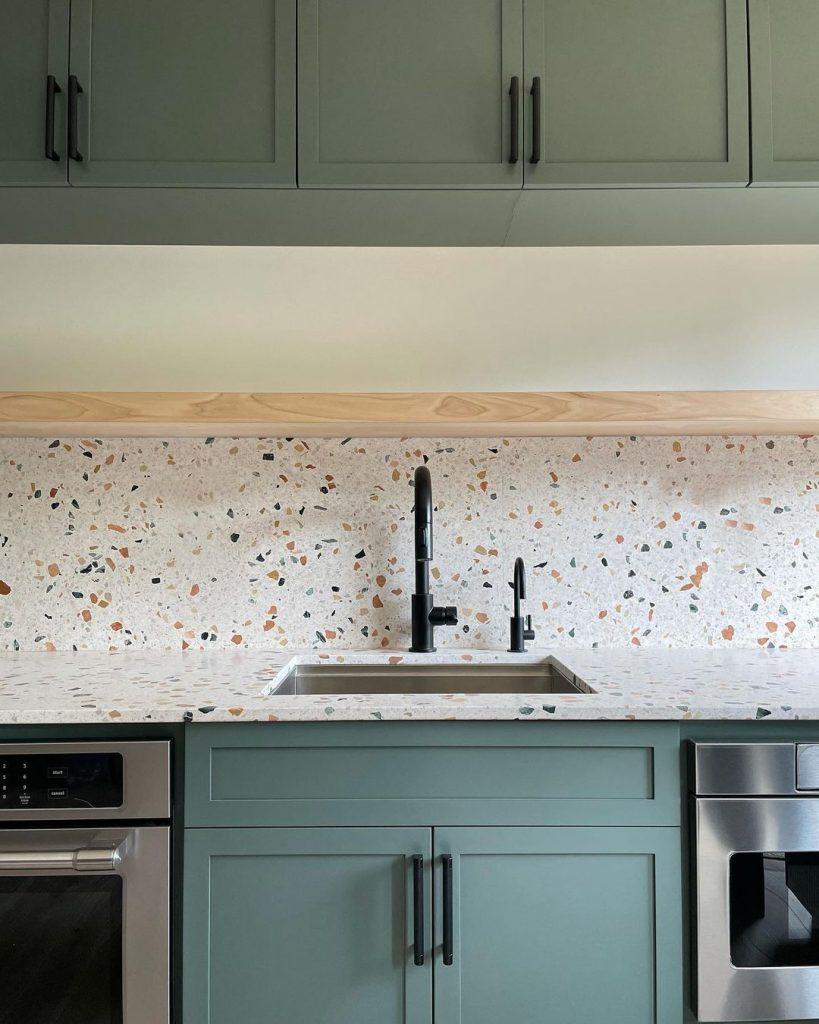 Benjamin Moore Caldwell Green painted kitchen terazzo splashback