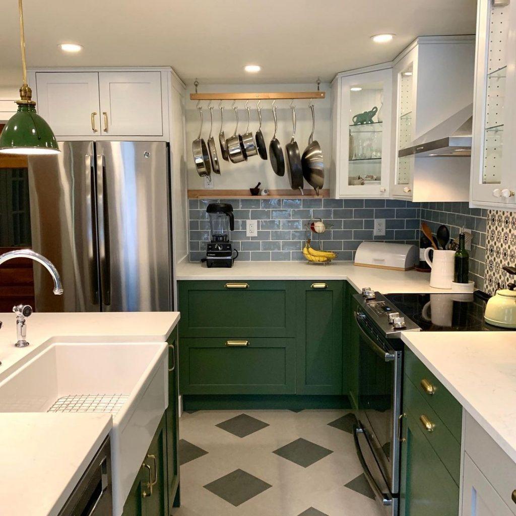 Benjamin Moore Peale Green kitchen island