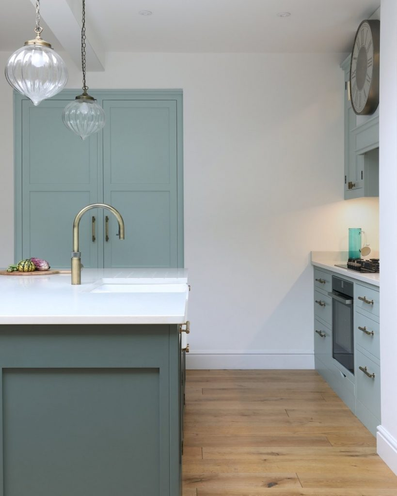 Blue kitchen painted in Little Green Paint Company Aquamarine