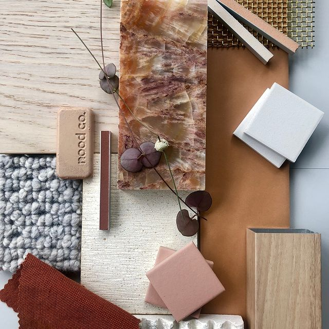 Burnt and blush materials board