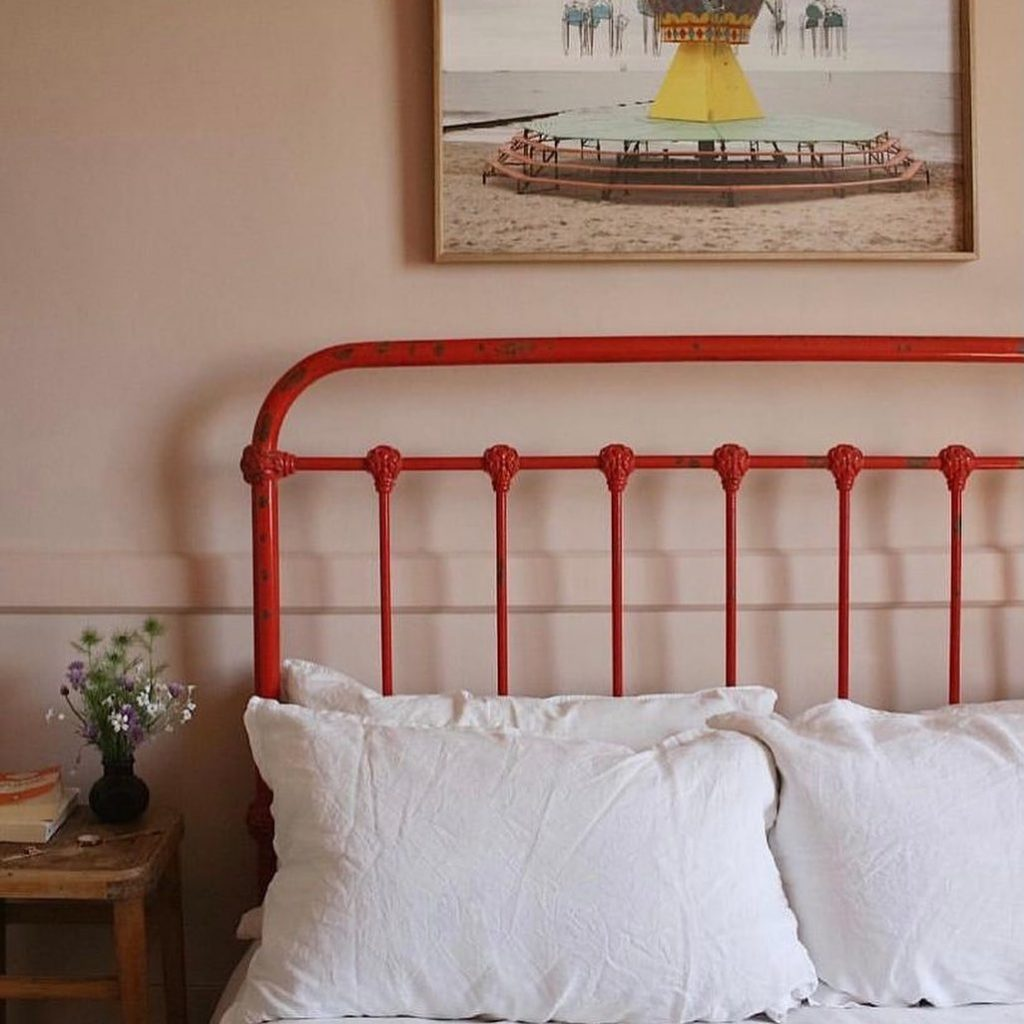 Edward Bulmer Paint Jonquil painted walls and red painted bedframe