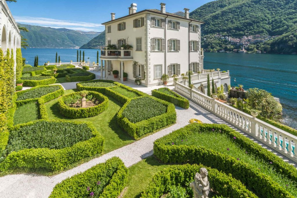 Formal manicured gardens in a house by the lake