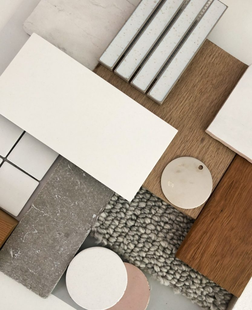 Fresh white and pale grey palette material board interior