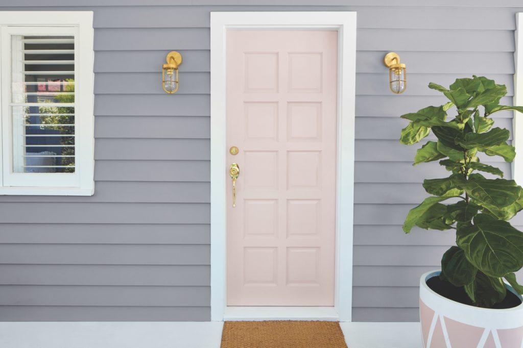 Front door exterior painted in Taubmans Pink Dust