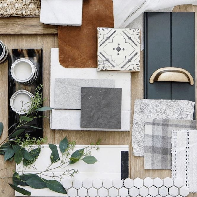 Leather and neutrals moodboard interior