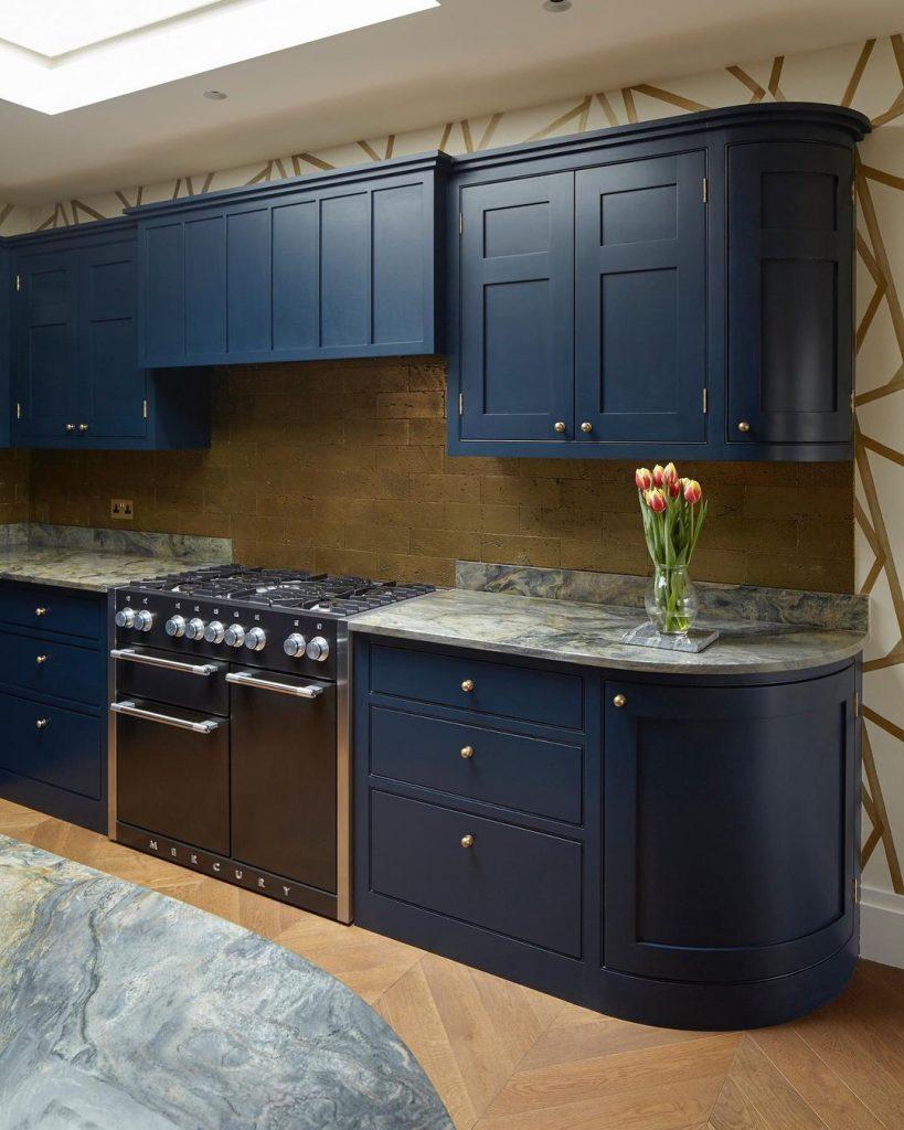 Little Greene Paint Basalt painted kitchen blue