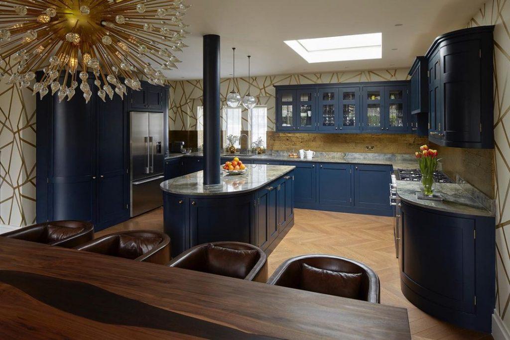 Little Greene Paint Basalt painted kitchen blue with bronze