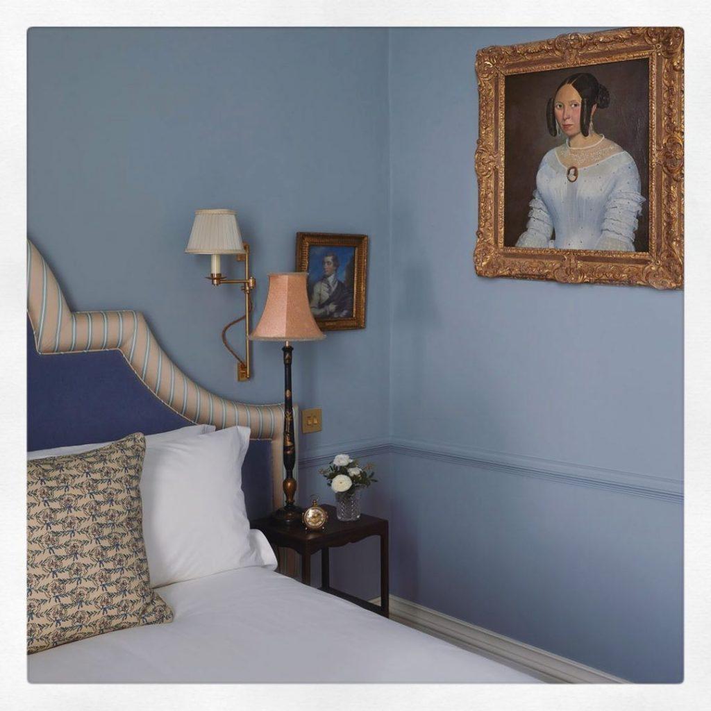 Little Greene Paint Bone China Blue bedroom walls