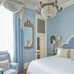 Luxury Bedroom Painted in Little Greene Paint Bone China Blue