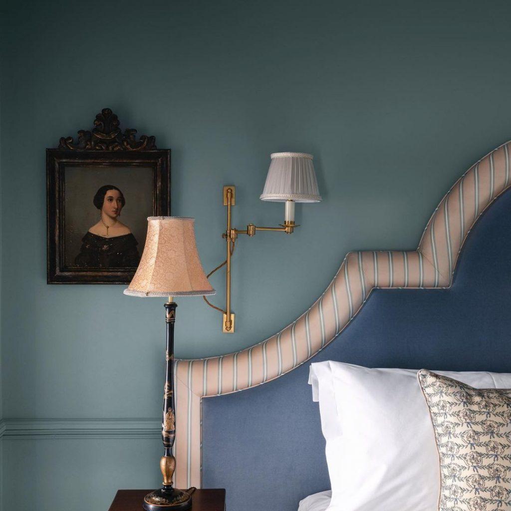 Luxury Bedroom Painted in Little Greene Paint Bone China Blue Blue headboard