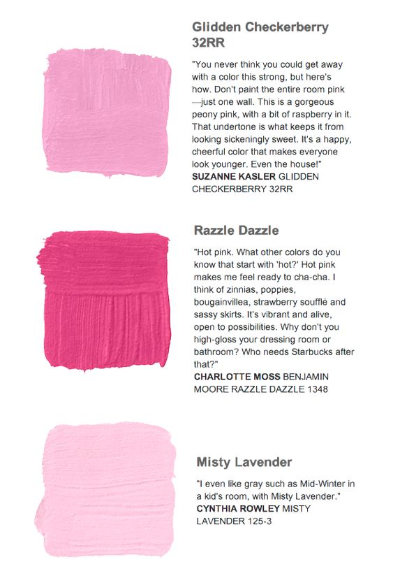 Pink Paint Color Swatches