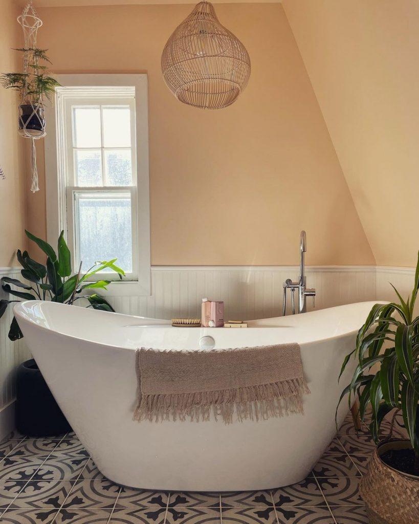 Sherwin Williams Flattering Peach paint color bathroom