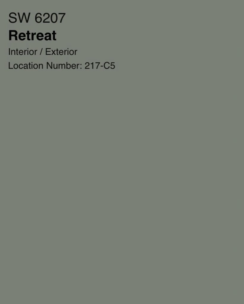 Sherwin Williams Retreat green paint color swatch
