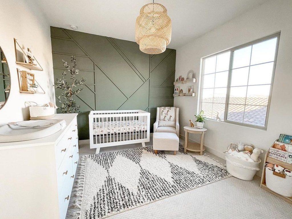 Sherwin Williams Retreat nursery interior paint color