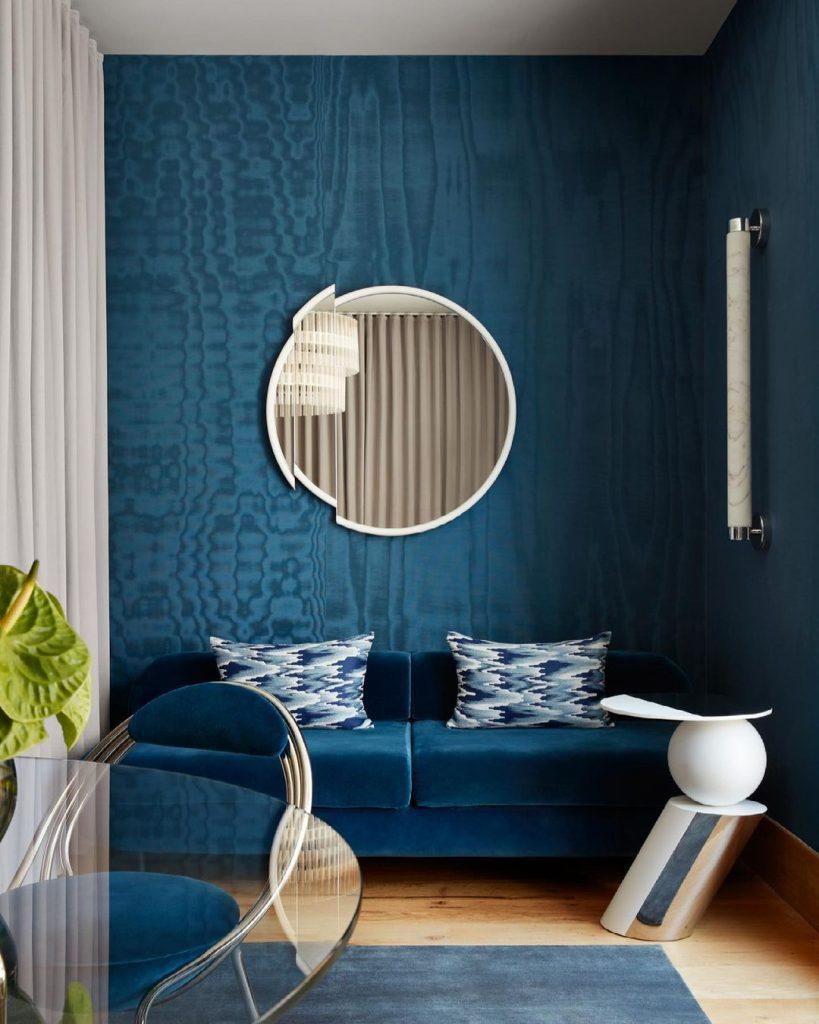 Teal blue contemporary interior