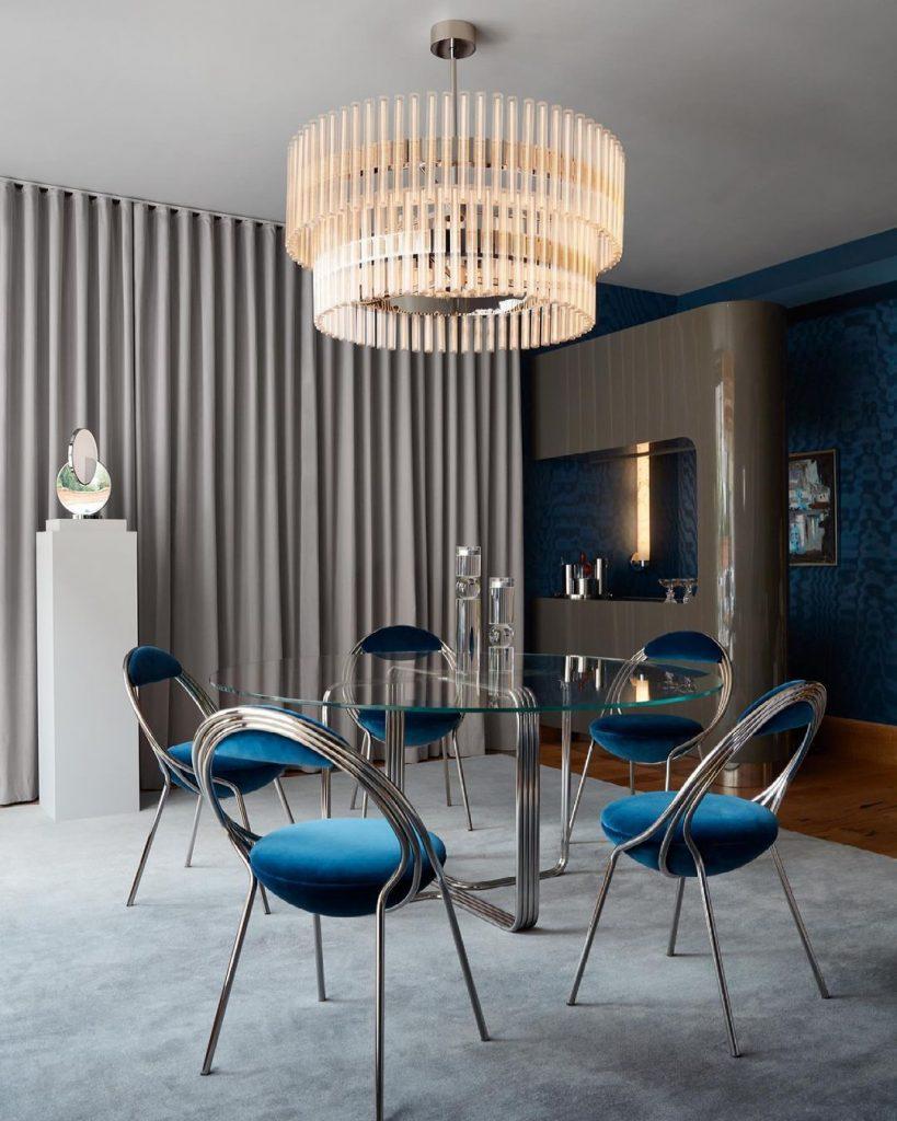 Teal blue contemporary interior dining