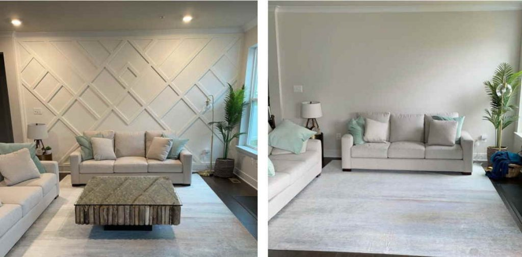 board and batten living room before and after