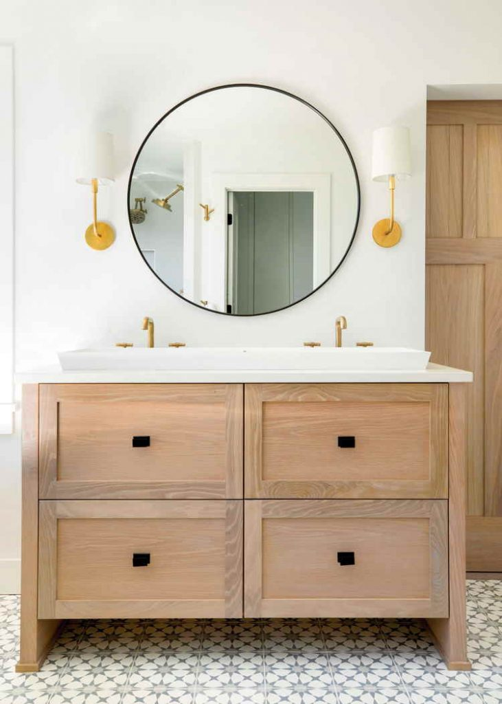 wood and white farmhouse bathroom