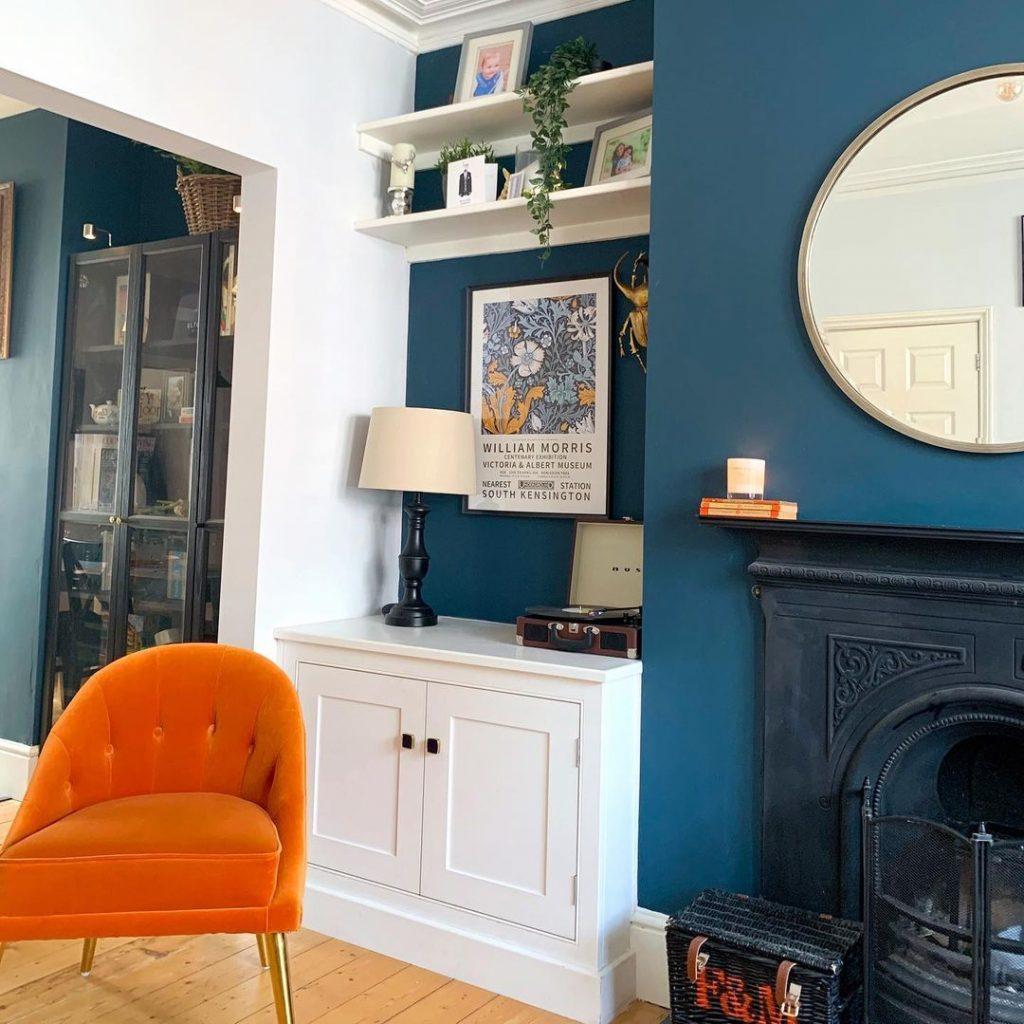 Farrow Ball Hague Blue Walls and orange chair