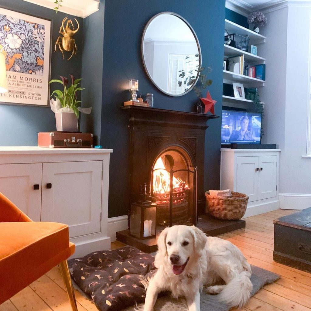 Farrow and Ball Hague Blue Walls and orange chair