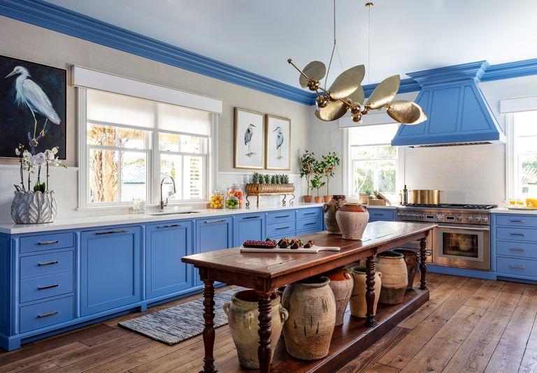 Benjamin Moore Blue Dragon kitchen cabinets