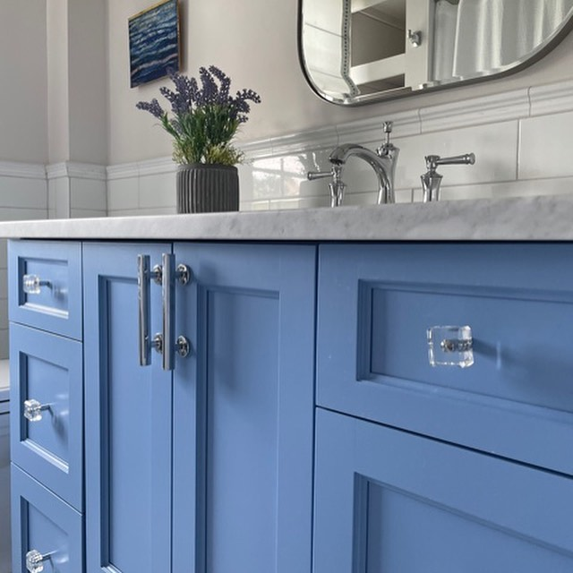 Benjamin Moore Blue Dragon painted cabinets