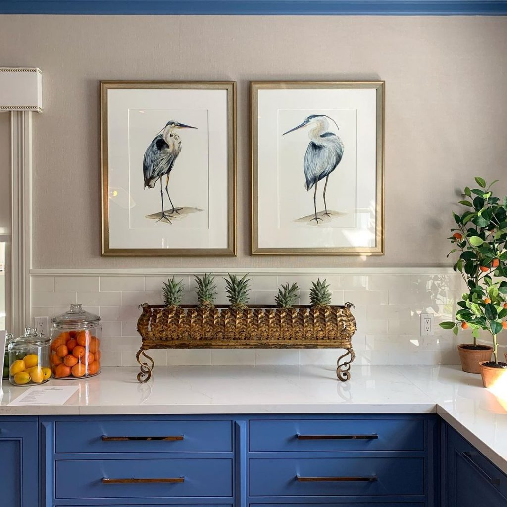 Benjamin Moore Blue Dragon painted kitchen cabinets