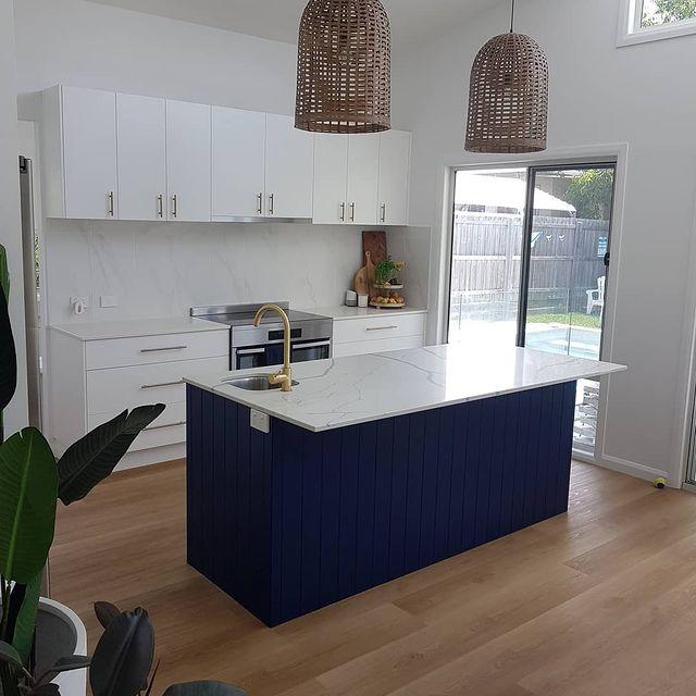 Dulux Blue Lobelia paint color kitchen island