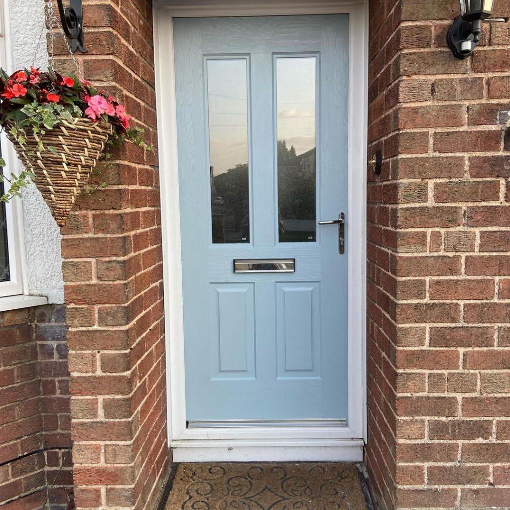 Farrow & Ball Parma Grey blue front door