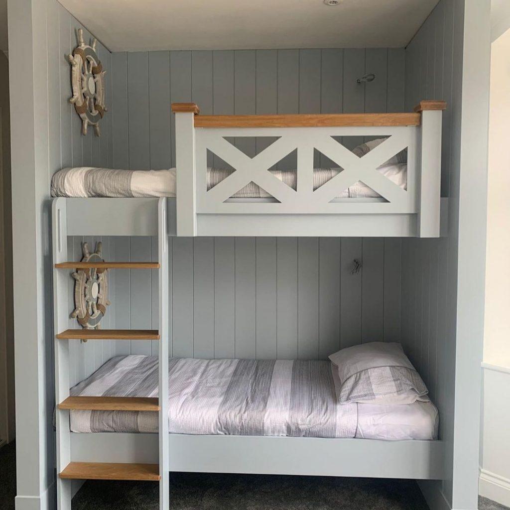 Farrow & Ball Parma Grey painted bunk bed