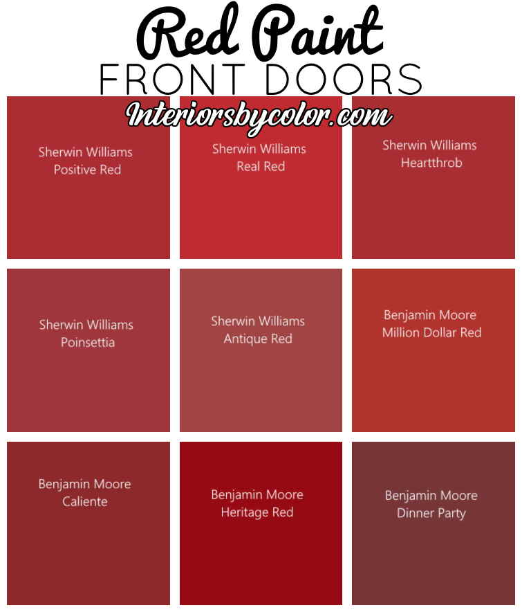 Red front doors on houses paint colors